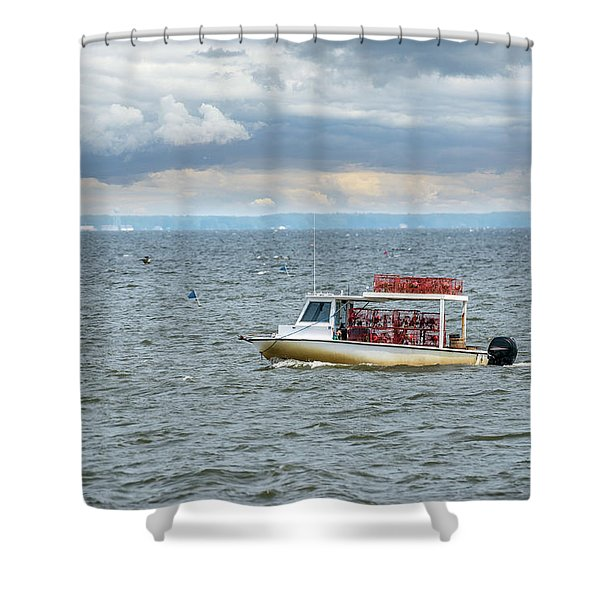Maryland Crab Boat Fishing On The Chesapeake Bay Shower Curtain
