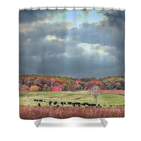 Maryland Farm With Autumn Colors And Approaching Storm Shower Curtain