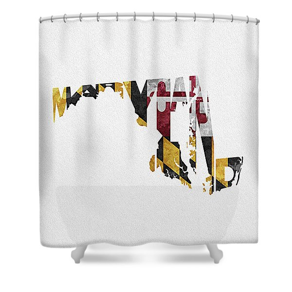 Maryland Typographic Map Flag Shower Curtain