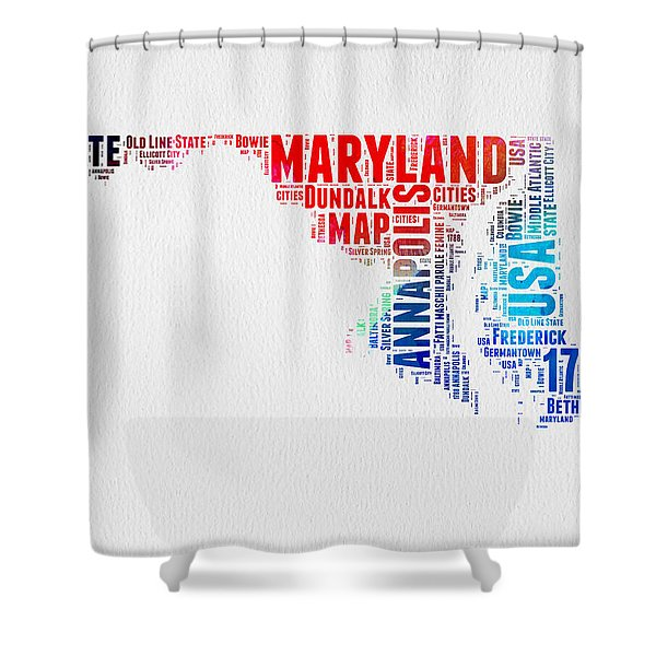 Maryland Watercolor Word Cloud  Shower Curtain
