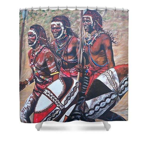 Blaa Kattproduksjoner       Masaai Warriors Shower Curtain