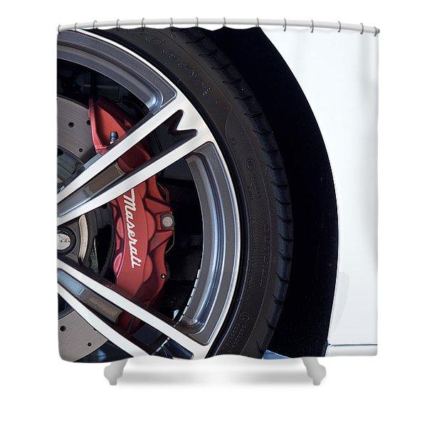 Maserati Wheel White Shower Curtain