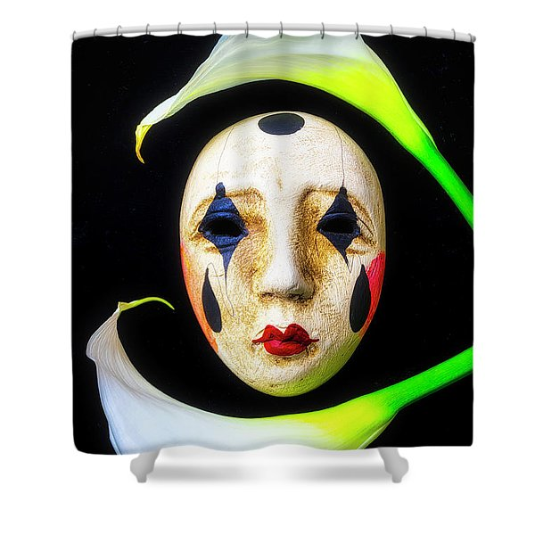 Mask And Calla Lilies Shower Curtain