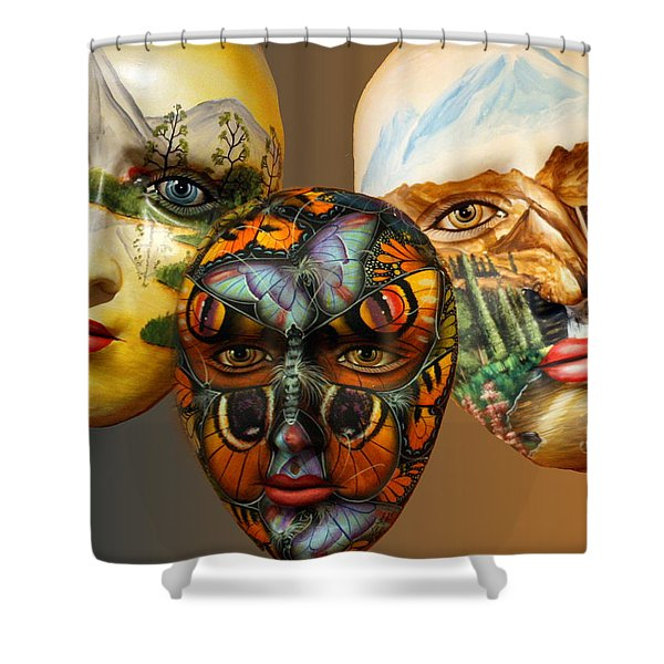 Masks On The Wall Shower Curtain