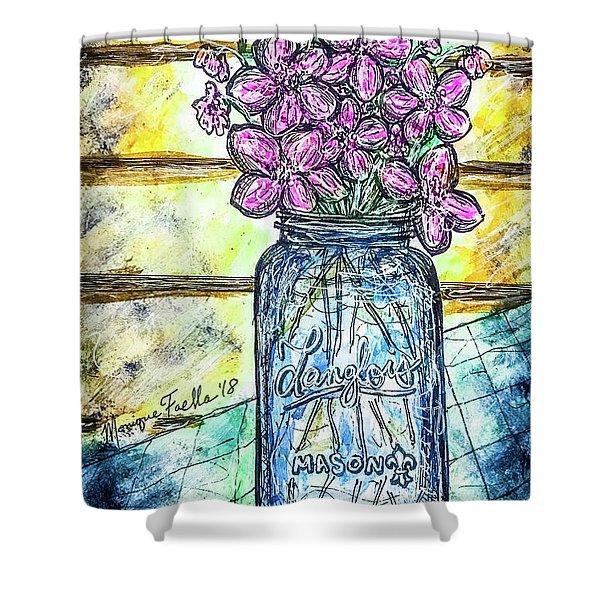 Mason Jar Bouquet Shower Curtain