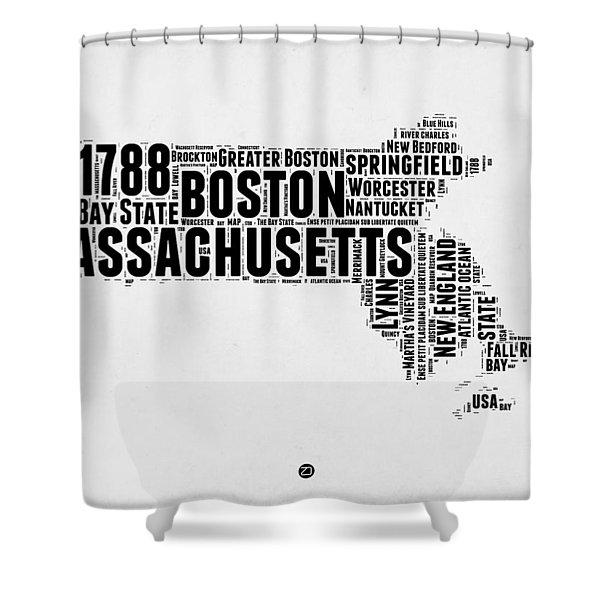 Massachusetts Word Cloud Map 2 Shower Curtain