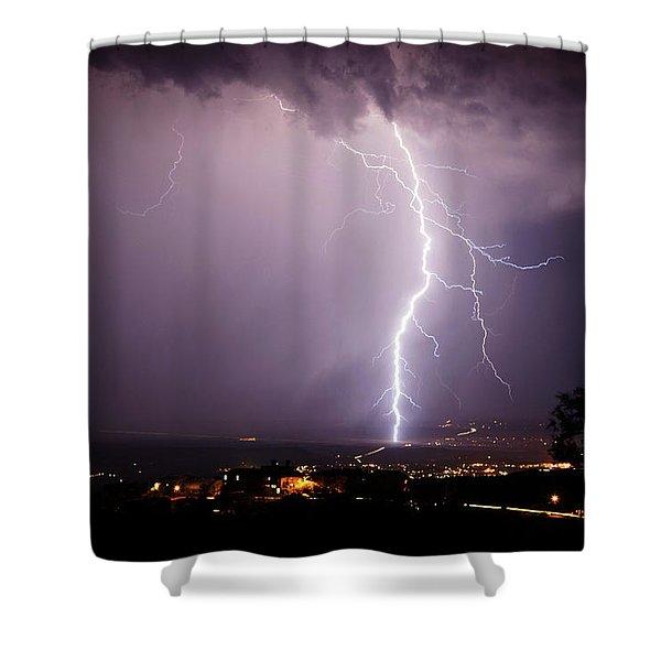 Massive Lightning Storm Shower Curtain