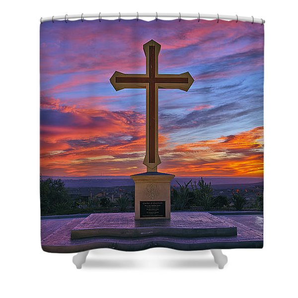 Christian Cross And Amazing Sunset Shower Curtain