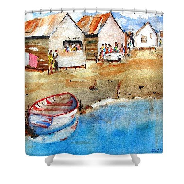 Mauricio's Village - Beach Huts Shower Curtain