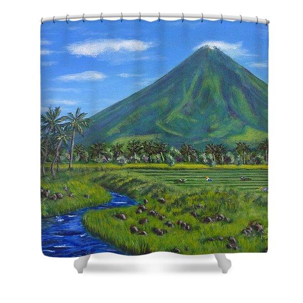 Mayon Volcano Shower Curtain