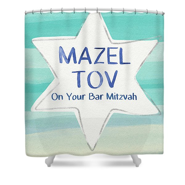 Mazel Tov On Your Bar Mitzvah-  Art By Linda Woods Shower Curtain