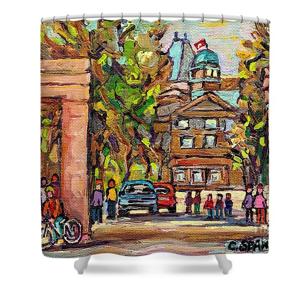 Mcgill Gates  Entrance Of Mcgill University Montreal Quebec Original Oil Painting Carole Spandau Shower Curtain