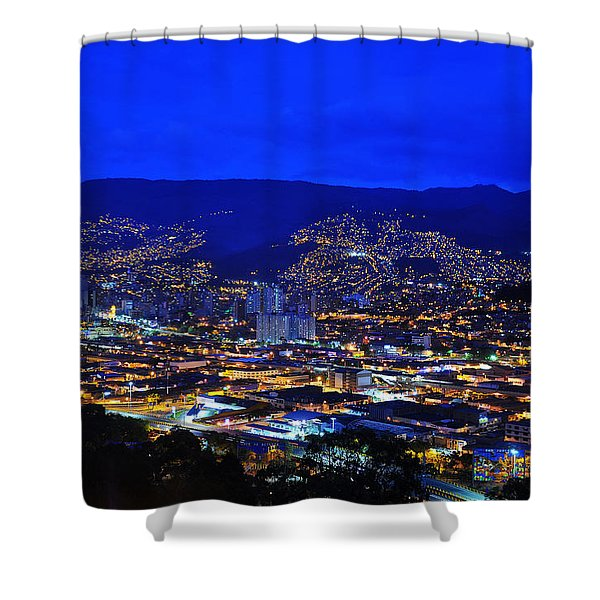 Medellin Colombia At Night Shower Curtain