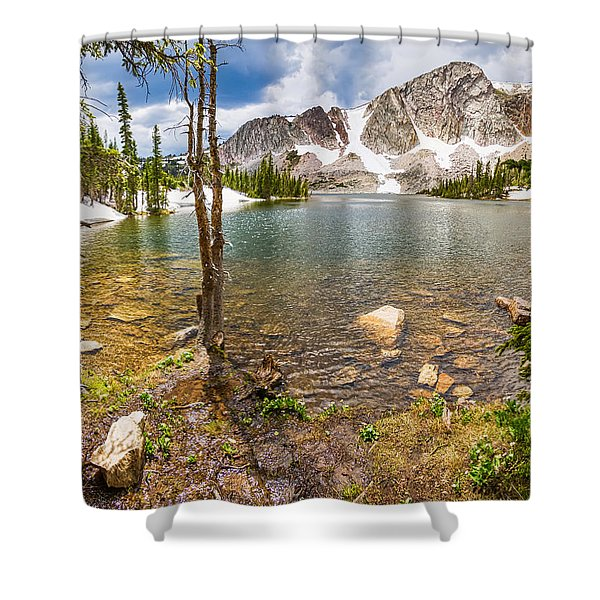 Medicine Bow Snowy Mountain Range Lake View Shower Curtain