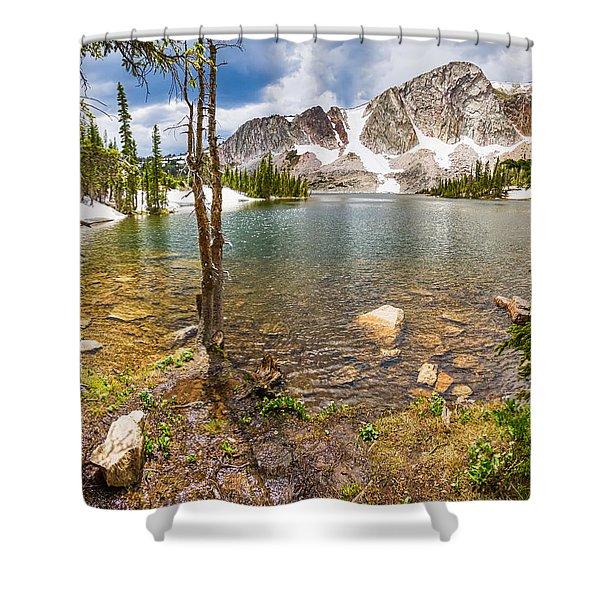 Medicine Bow Snowy Mountain Range Lake View Shower Curtain