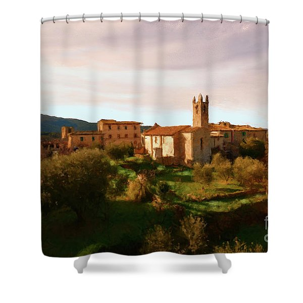 Shower Curtain featuring the painting Medieval Tuscany by Rosario Piazza