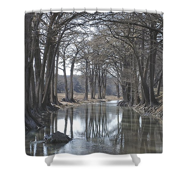 Medina River In Winter Shower Curtain