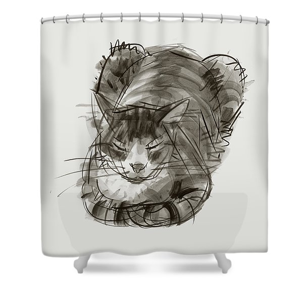 Meditating Cat Shower Curtain