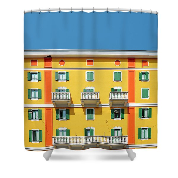 Mediterranean Colours On Building Facade Shower Curtain
