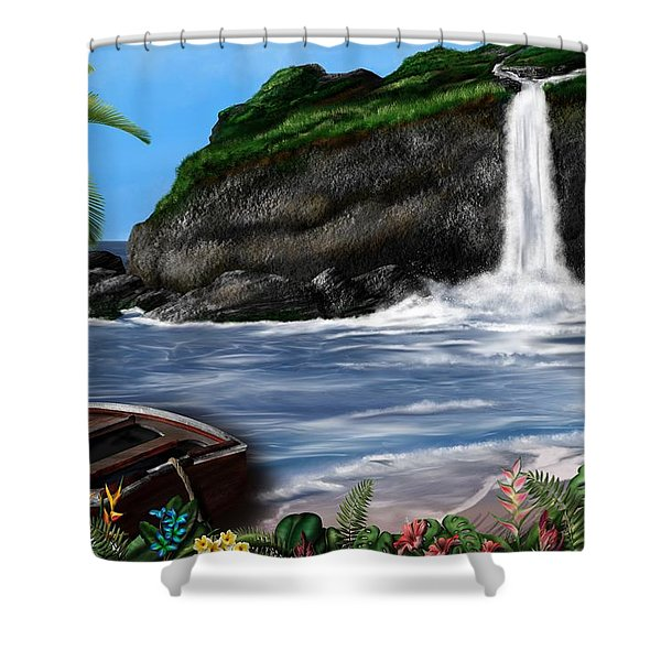 Shower Curtain featuring the digital art Meet Me At The Beach by Mark Taylor