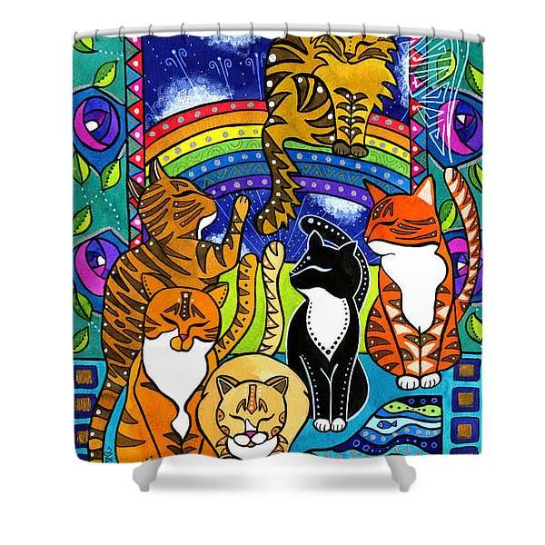 Meet Me At The Rainbow Bridge - Cat Painting Shower Curtain