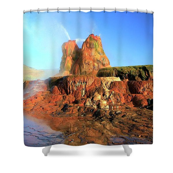 Shower Curtain featuring the photograph Meet The Fly Geyser by Sean Sarsfield