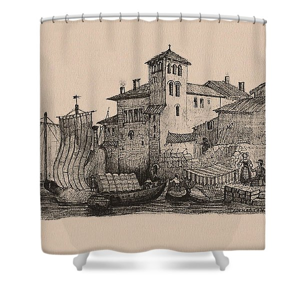 Meetings At The Dock Shower Curtain