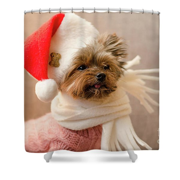 Melanie In Christmas Hat Shower Curtain