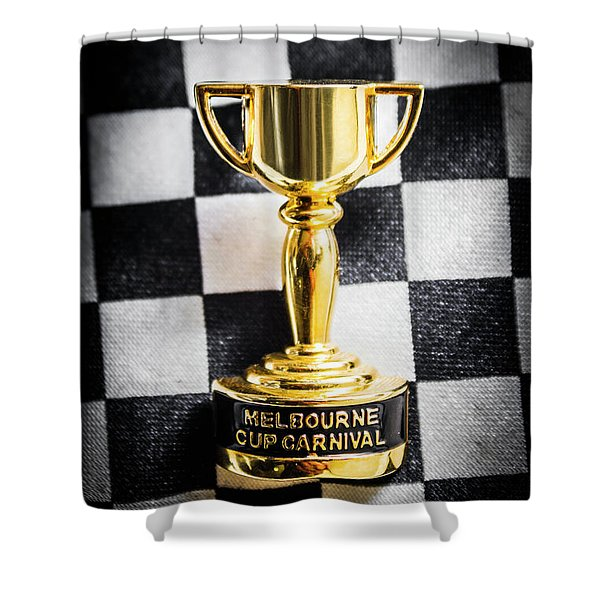 Melbourne Cup Pin On Mens Chequered Fashion Tie Shower Curtain