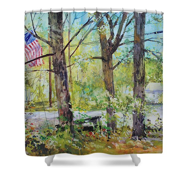 Memorial Day Flag Shower Curtain