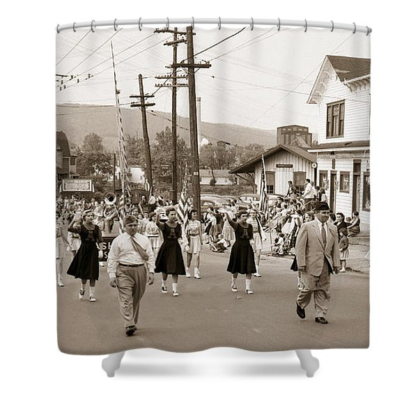 Memorial Day Parade Ashley Pa With Train Station And The Huber Colliery In Background 1955 Shower Curtain