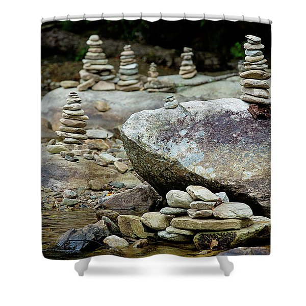 Memorial Stacked Stones Shower Curtain