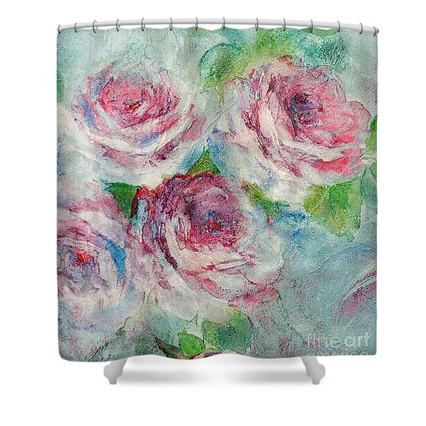 Shower Curtain featuring the painting Memories Of Roses by Writermore Arts