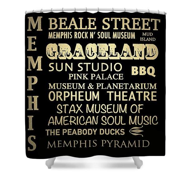Memphis Tennessee Famous Landmarks Shower Curtain