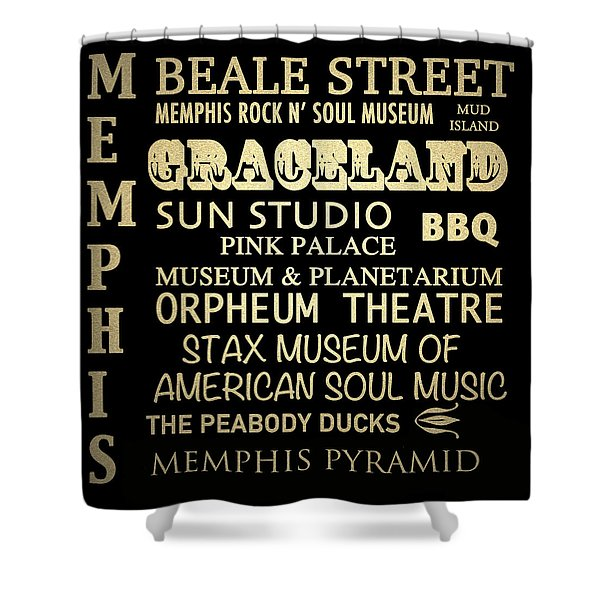 Memphis Tennessee Famous Landmarks Shower Curtain