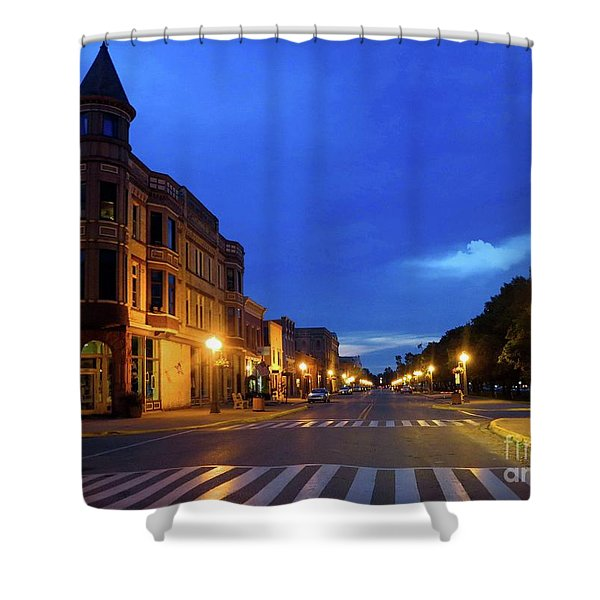 Menominee Michigan Night Lights Shower Curtain