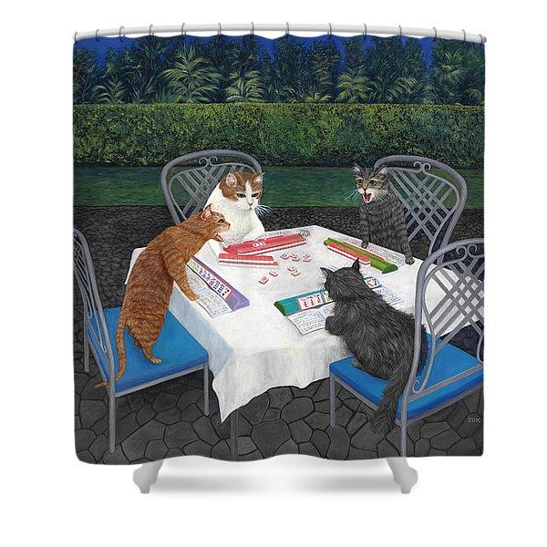 Meowjongg - Cats Playing Mahjongg Shower Curtain