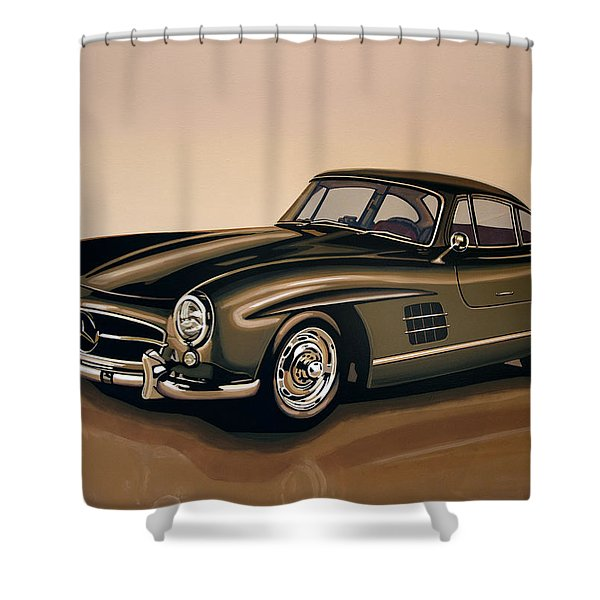 Mercedes Benz 300 Sl 1954 Painting Shower Curtain