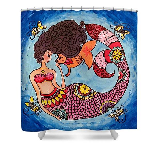 Mermaid And Catfish Shower Curtain