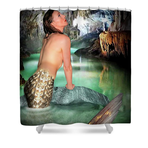 Mermaid In A Cave Shower Curtain