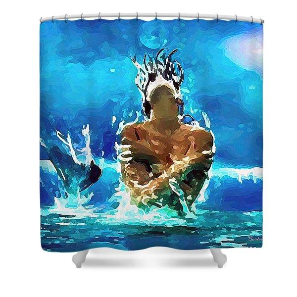 Mermaid Under The Moonlight Shower Curtain