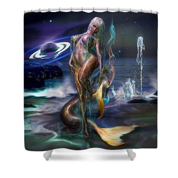 Mermaids Moon Light Shower Curtain