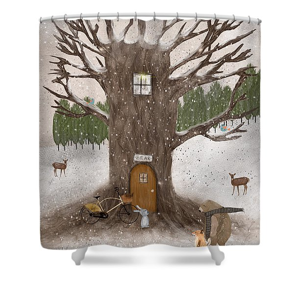 Merry Berry Wood Shower Curtain