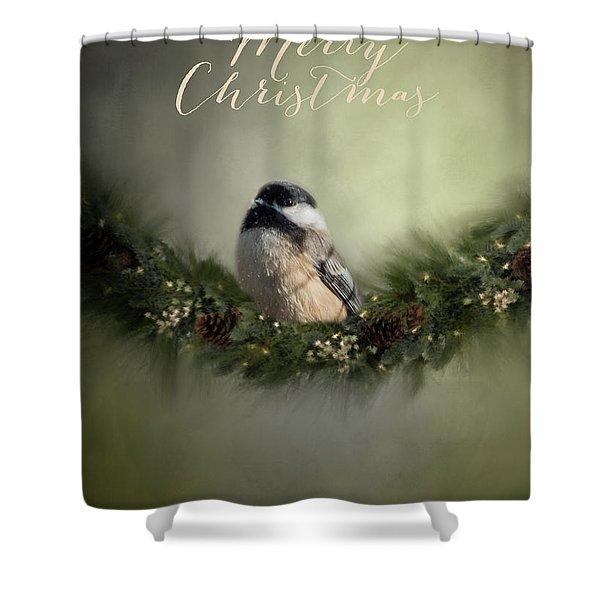 Merry Christmas Chicadee 1 Shower Curtain