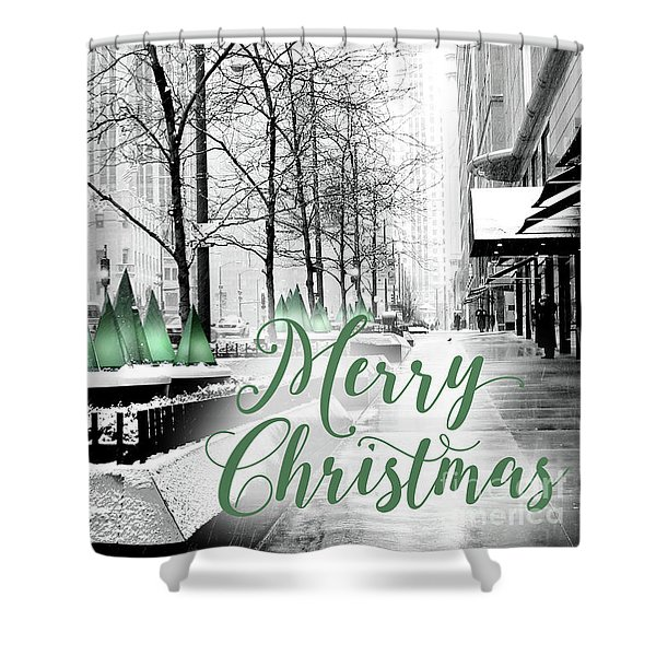 Merry Christmas Chicago Shower Curtain