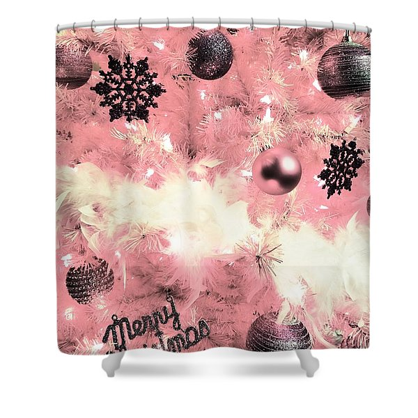 Merry Christmas In Pink Shower Curtain