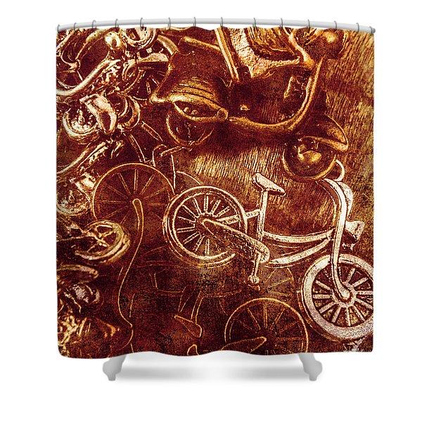 Messy Bike Workshop Shower Curtain