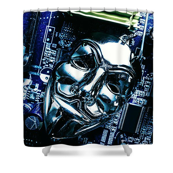 Metal Anonymous Mask On Motherboard Shower Curtain