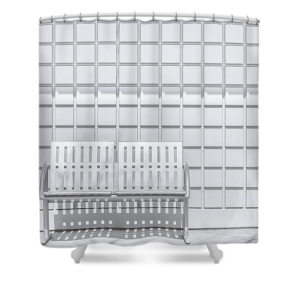 Metal Bench Against Concrete Squares Shower Curtain