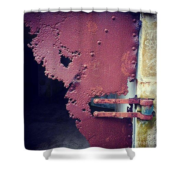 Metal Door Ode To Sam Shower Curtain